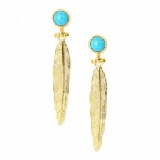 Feather turquoise earings