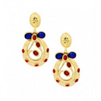 Lapis and coral stones earings