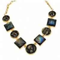 Labradorite coin necklace